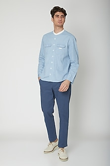 Sky Blue Detailed Cotton Shirt by Sneha Arora Men