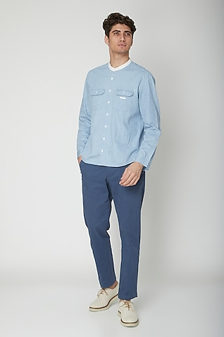 Sky Blue Detailed Cotton Shirt by Sneha Arora Men