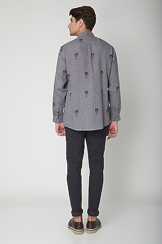 Grey Printed Linen Shirt by Sneha Arora Men