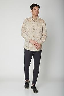 Beige Printed Cotton Shirt by Sneha Arora Men