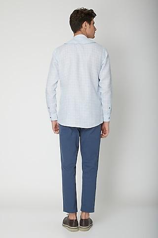 Sky Blue Detailed Linen Shirt by Sneha Arora Men