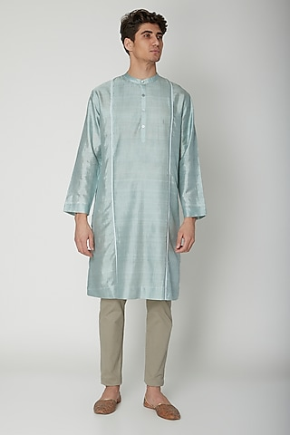 Turquoise Detailed Silk Kurta by Sneha Arora Men