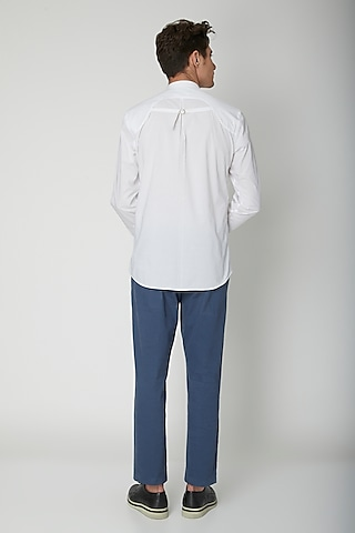 White Detailed Cotton Shirt by Sneha Arora Men