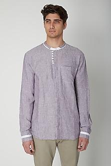 Mauve Embroidered Linen Shirt by Sneha Arora Men