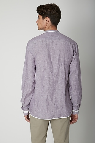 Mauve Embroidered Linen Shirt by Sneha Arora Men