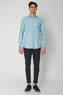 Turquoise Detailed Cotton Shirt by Sneha Arora Men