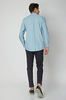 Turquoise Detailed Cotton Shirt by Sneha Arora Men