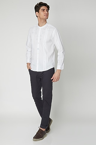 White Aari Embroidered Shirt by Sneha Arora Men