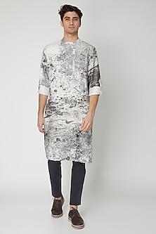 White Printed Linen & Silk Kurta by Sneha Arora Men
