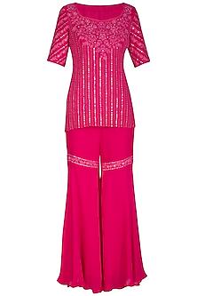 Pink Hand Embroidered Sharara Set by Samatvam By Anjali Bhaskar