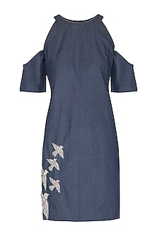 Blue Embroidered Denim Dress by Samatvam By Anjali Bhaskar
