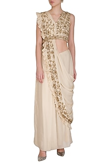 Beige Hand Embroidered Pre-Draped Saree Set by Samatvam By Anjali Bhaskar