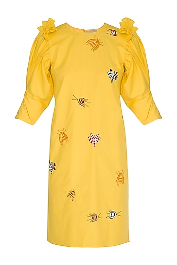 Yellow Bug Embroidered Dress by Samatvam By Anjali Bhaskar