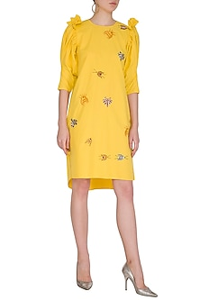 Yellow Bug Embroidered Dress by Samatvam By Anjali Bhaskar