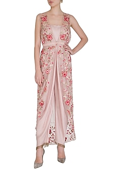 Pink Jumpsuit With Embroidered Jacket by Samatvam By Anjali Bhaskar