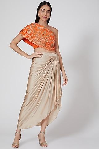 Beige Draped Dhoti Set With Embroidered Top by Samatvam By Anjali Bhaskar