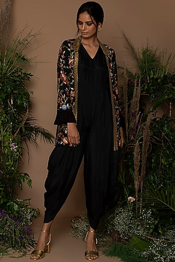 Black Jumpsuit With Embroidered Jacket by Samatvam By Anjali Bhaskar