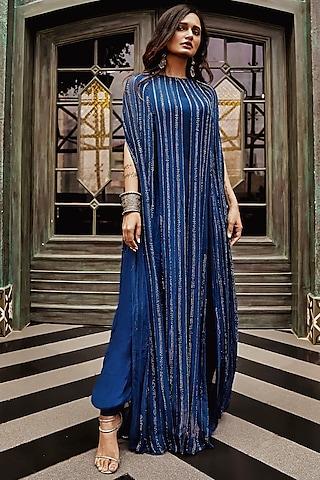 Midnight Blue Jumpsuit With Embroidered Cape by Samatvam By Anjali Bhaskar