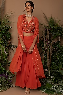 Burnt Orange Embroidered Gharara Set by Samatvam By Anjali Bhaskar