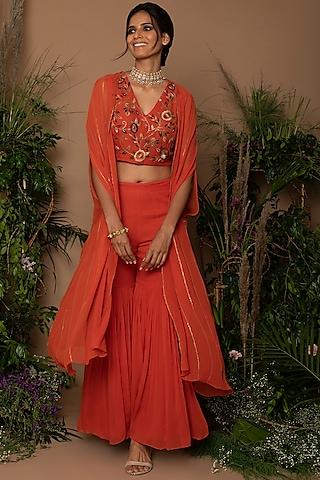 Burnt Orange Embroidered Gharara Set by Samatvam By Anjali Bhaskar