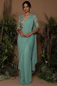 Teal Blue Embroidered & Draped Saree Set by Samatvam By Anjali Bhaskar-SHOP BY STYLE