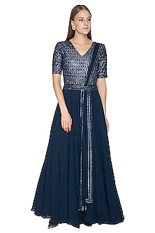 Midnight Blue Embroidered Anarkali by Samatvam By Anjali Bhaskar