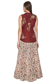 Brown Embroidered Blouse & Floral Printed Lehenga Skirt by Samatvam By Anjali Bhaskar