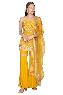 Mustard Yellow Embroidered Sharara Set by Samatvam By Anjali Bhaskar