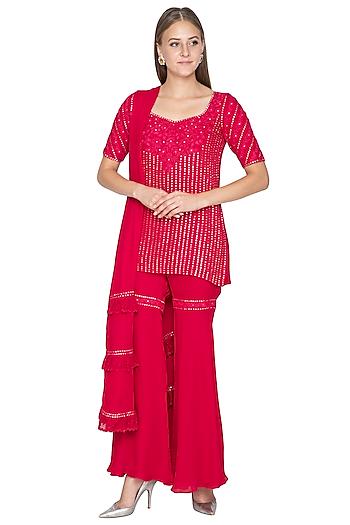 Fuchsia Pink Embroidered Sharara Set by Samatvam By Anjali Bhaskar