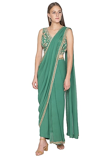 Green Pre-Draped Pant Saree With Embroidered Blouse by Samatvam By Anjali Bhaskar