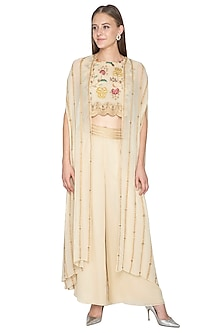 Ivory Embroidered Crop Top With Pants & Cape by Samatvam By Anjali Bhaskar