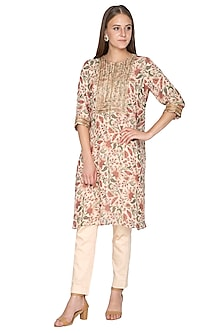 Peach Printed & Embroidered Kurta With Pants by Samatvam By Anjali Bhaskar