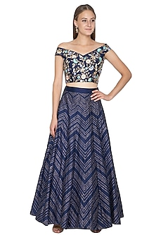 Midnight Blue Embroidered Blouse With Lehenga Skirt by Samatvam By Anjali Bhaskar