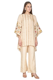 Ivory Embroidered Kurta With Palazzo Pants by Samatvam By Anjali Bhaskar