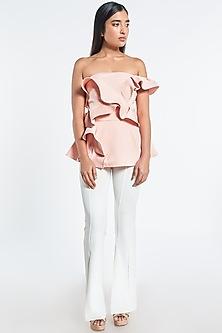 Pink Ruffled Off Shoulder Top by Shivani Awasty