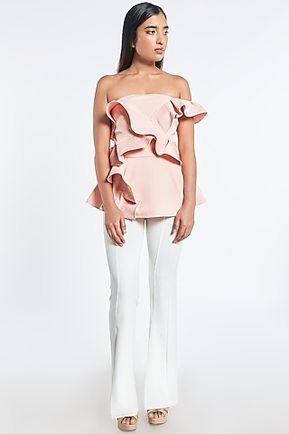 Pink Ruffled Off Shoulder Top by Shivani Awasty
