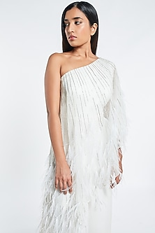 White Embroidered Cape Jumpsuit by Shivani Awasty