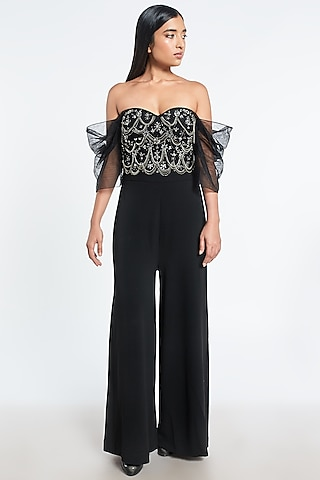 Black Corset Embroidered Jumpsuit by Shivani Awasty