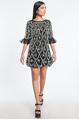 Black Embroidered Mini Dress by Shivani Awasty