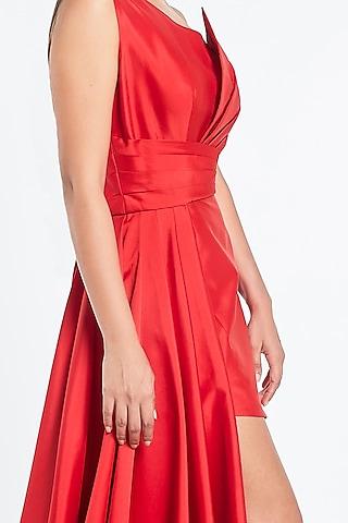 Red Mini Dress With Side Drape by Shivani Awasty