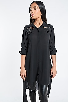 Black Embroidered Tied Up Shirt by Shivani Awasty