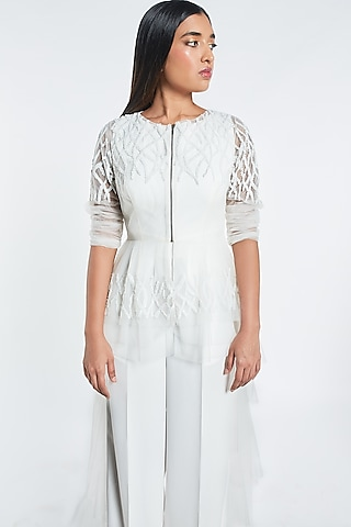 White Ruffled Cape With Jumpsuit by Shivani Awasty