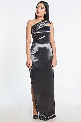 Dark Grey Silk Satin Gown by Shivani Awasty