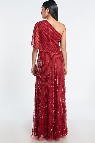 Red Embroidered Cape Gown by Shivani Awasty