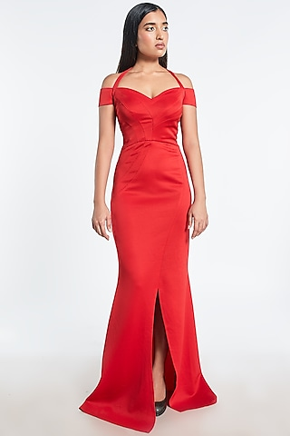 Red Gown With Black Trail by Shivani Awasty