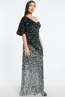 Emerald Green & Silver Ombre Sequins Gown by Shivani Awasty