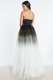 Black & White Ombre Embroidered Gown by Shivani Awasty