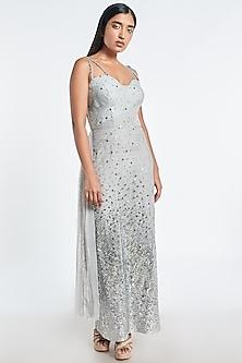 Light Grey Embroidered Midi Dress by Shivani Awasty