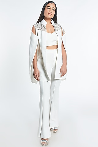 White Embroidered Cape With Bralet by Shivani Awasty