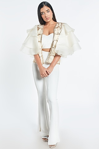 Off White Sequins Cape by Shivani Awasty